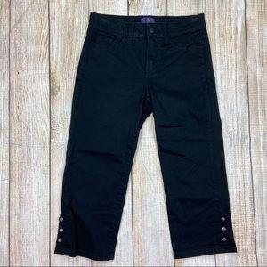NYDJ Black Crop Leg Jeans w/ Rhinestones